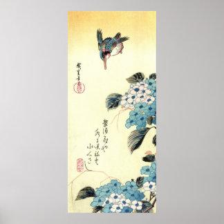 紫陽花にカワセミ、広重のアジサイおよびカワセミ、Hiroshige ポスター