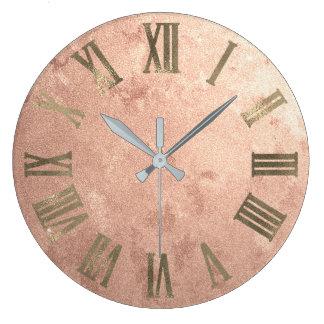細いばら色の金ゴールドの銅汚い青銅色のローマのNumers ラージ壁時計