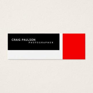 細い白黒の赤い写真撮影の名刺 スキニー名刺