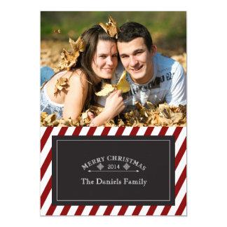 細い縦縞のメリークリスマス2014年 カード