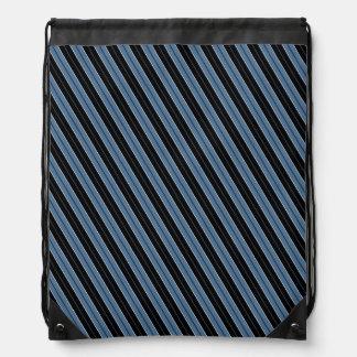 細い縦縞の青い白黒の対角線は縞で飾ります ナップサック