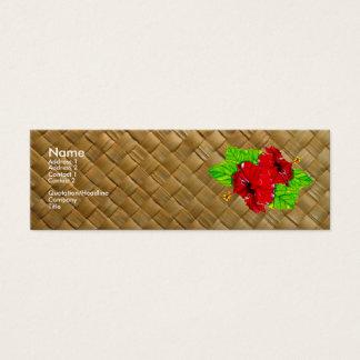 細い赤いハイビスカスのLauhalaの名刺 スキニー名刺