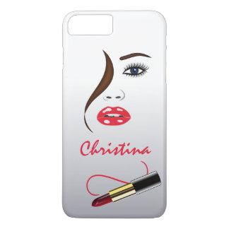 細い鏡のメーキャップアーティストの顔そして口紅 iPhone 8 PLUS/7 PLUSケース