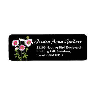 細く写実的な花のケシの応答の住所シール ラベル