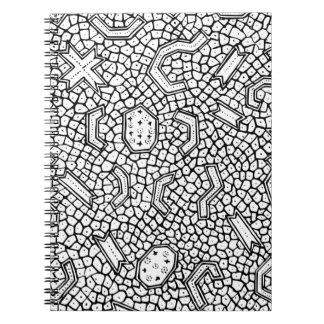 細胞インドネシアの織物パターン ノートブック