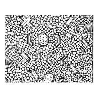 細胞インドネシアの織物パターン ポストカード