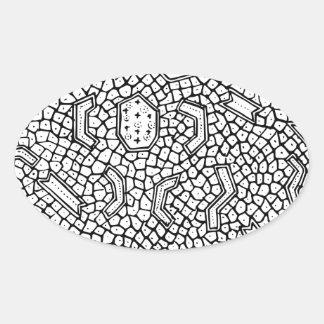 細胞インドネシアの織物パターン 楕円形シール