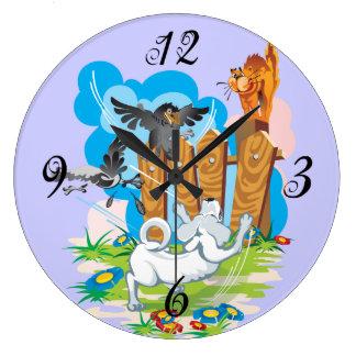 細道の柱時計のペット ラージ壁時計