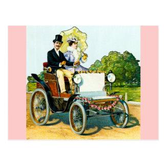 紳士および彼の女性Go For乗車-ヴィンテージ ポストカード