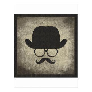 紳士のなダッシュの口ひげの山高帽 ポストカード