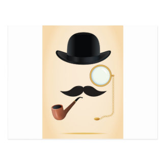 紳士の口ひげのなダッシュMonacle及び山高帽 ポストカード