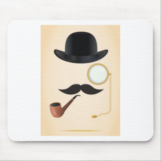 紳士の口ひげのなダッシュMonacle及び山高帽 マウスパッド