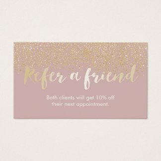 紹介カード|上品の金ゴールドの紙吹雪は挨りだらけのピンクに点を打ちます 名刺