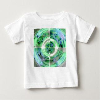 紺碧およびヒスイの抽象的なコラージュ ベビーTシャツ