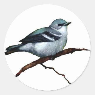 紺碧のアメリカムシクイ: 鳥: 白の油のパステル調の芸術 ラウンドシール