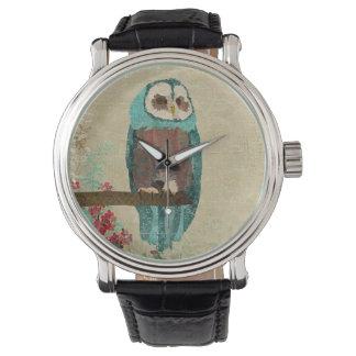 紺碧のフクロウのダマスク織の腕時計 腕時計
