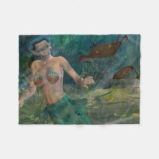 紺碧の人魚毛布 フリースブランケット