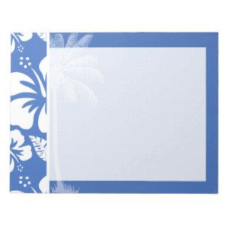 紺碧の熱帯ハイビスカスおよびやし ノートパッド