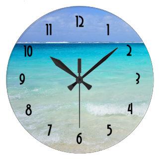 紺碧の青くカリブのな熱帯ビーチ ラージ壁時計