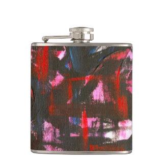 紺碧日没手によって絵を描かれる抽象的なブラシストローク フラスク