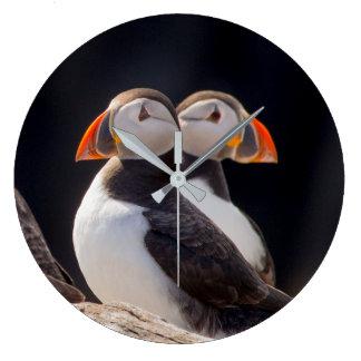 組のツノメドリ ラージ壁時計