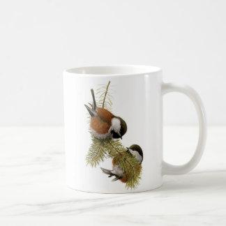 組の松の木のクリに支えられる《鳥》アメリカゴガラ コーヒーマグカップ