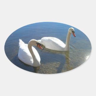 組の白鳥 楕円形シール