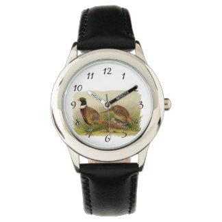 組の草が茂った分野のリングのネックのキジ 腕時計