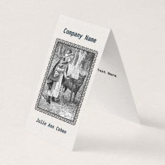 組み立てられたイラストレーションの白黒の乗馬フードのオオカミ 名刺