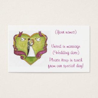 組み立てられたハートのカップルか結婚式のプロフィールカード 名刺