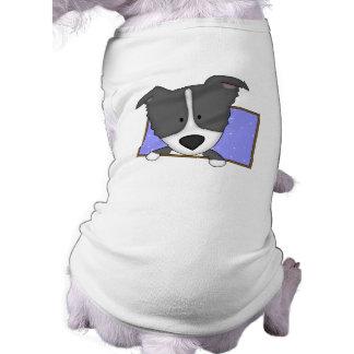 組み立てられた漫画のボーダーコリー犬のTシャツ ペット服