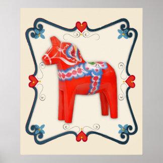 組み立てられるスウェーデン人のDalaの馬の民芸 ポスター
