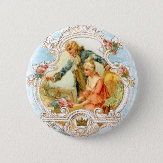 組み立てられるロマンチックなカップルのフランスのなヴィンテージ 缶バッジ