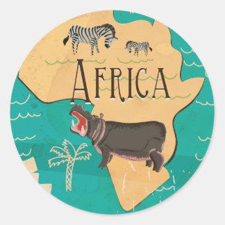 経験のアフリカのヴィンテージ旅行ポスター ラウンドシール