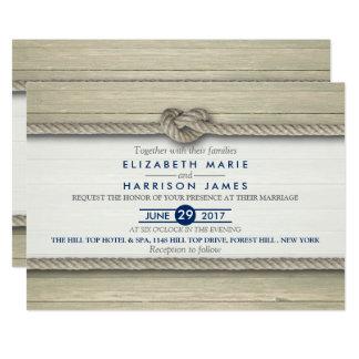 結び目の素朴なビーチ結婚式を結ぶこと カード