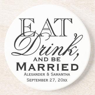 結婚したでカスタムな結婚式が食べ、飲み、そしてあって下さい 飲み物用コースター