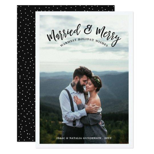 結婚したで及びメリーな写真の休日カード|暗闇 12.7 X 17.8 インビテーションカード