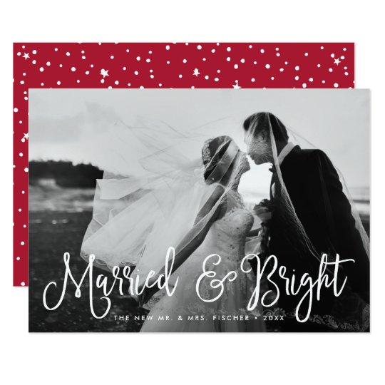 結婚したで及び明るい新婚者の休日の写真カード 12.7 X 17.8 インビテーションカード