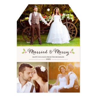 結婚したで、メリーなヒイラギのクリスマスの写真カード 12.7 X 17.8 インビテーションカード