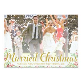 結婚したなクリスマス|の新婚者の休日の写真カード 12.7 X 17.8 インビテーションカード