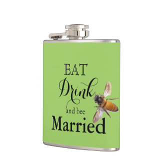 結婚したな飲み物および蜂を食べて下さい フラスク