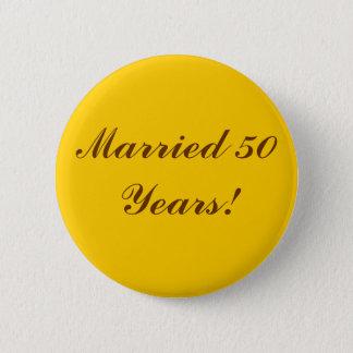 結婚したな50年! 金ボタン 5.7CM 丸型バッジ