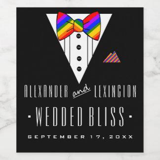 結婚した至福のタキシードの虹の陽気な結婚式 ワインラベル