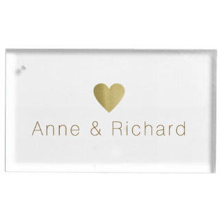 結婚するのどの金ゴールドのハートの名前をつないで下さい テーブルカードホルダー