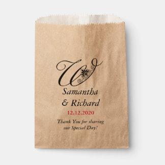 結婚するエレガントでカスタムなモノグラムW |は感謝していしています フェイバーバッグ