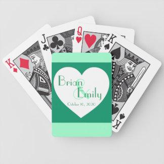 結婚するカスタムな緑の白いハートカードを遊びます バイスクルトランプ