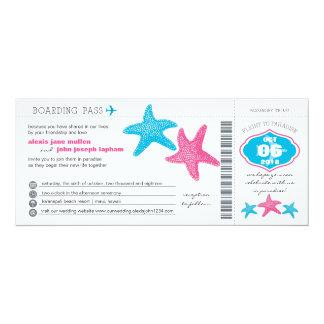 結婚するヒトデの搭乗券| 10.2 X 23.5 インビテーションカード