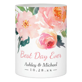 結婚するモダンな水彩画の花の最も最高のな日 LEDキャンドル