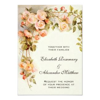 結婚するヴィンテージによっては旧式なピンクのバラ花柄が開花します カード