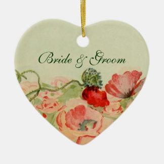 結婚するヴィンテージによっては赤いケシ花草原が開花します 陶器製ハート型オーナメント